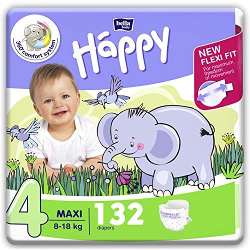 Bella Happy Couches pour bébé, 4 (8-18 kg), 132 couches