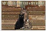 Dvbhd Quadro Camera da Letto Animal Poster Cat Poster Pallet My House My Cat My Rules Canvas Wall Art Quadro Print Decorazioni Posters 50x70cm x1 Senza Cornice