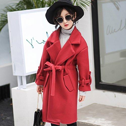 MIF meisje jas jas prinses kinderen herfst en winter kleding in de grote kinderen dikke wollen jas jas, rode wijn,