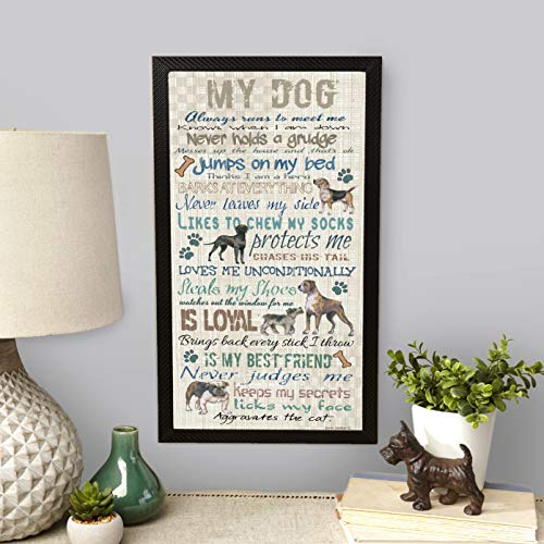 The Lakeside Collection My Dog Wall Sign Art Sentiment for Canine Owners and Pet Lovers