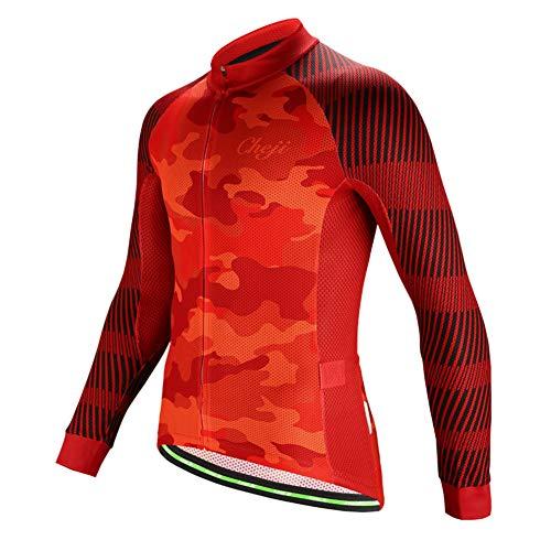 SXSHUN Maillot de Ciclismo de Hombres Camisa de Manga Larga de Secado...