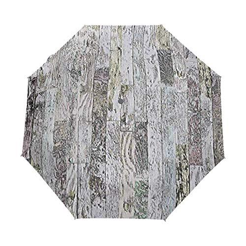 SUHETI Regenschirm Taschenschirm,Pastellfarbene Eichenholzbretter des Bauernhauses im Land natürlicher Lebensstil,Auf Zu Automatik,windsicher,stabil