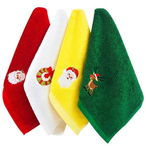 Kikier - Juego de 4 toallas de mano de Navidad, algodón para Navidad, juego de toallas de cocina para el hogar, cocina, bar y toallas