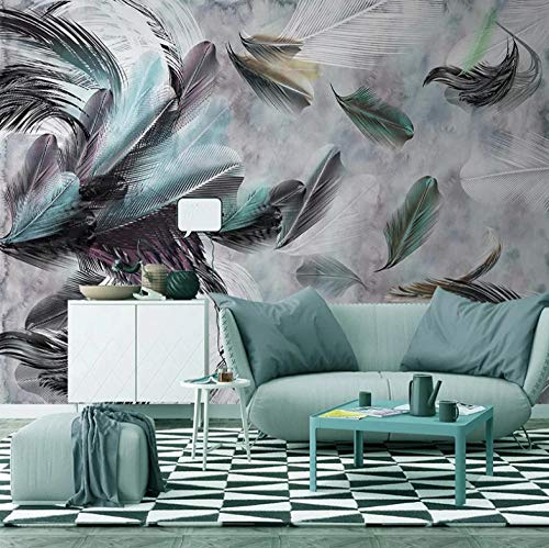 Mural Vintage Color Feather Watercolor 200X150cm Non-Woven Art Print 3D Wallpaper Mural Photo Kids Bedroom Kitchen Poster Decoration – Mural Consists of 4 Pieces