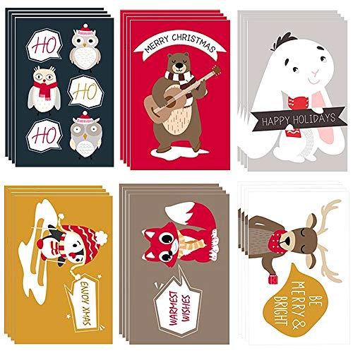 Tarjetas de Navidad,3D Tarjetas de Felicitación de Navidad,Conjunto de 24 Tarjetas + 24 Sobres + 24 Pegatinas Tarjetas de notas de Navidad Tarjetas de felicitación de Navidad