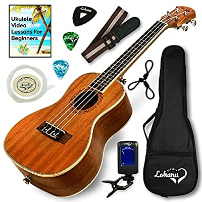 Ukulele Bundle Best Deal Concert Soprano Tenor Sizes Available From Lohanu Two Strap Pins Installed All Accessories Included For FREE Bonus Video Lessons