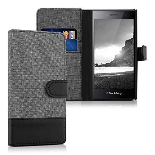 kwmobile Hülle kompatibel mit BlackBerry Leap - Kunstleder Wallet Case mit Kartenfächern Stand in Grau Schwarz
