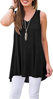WNEEDU Women's Summer Sleeveless Tunic Casual V-Neck T-Shirt Tank Tops Blouse