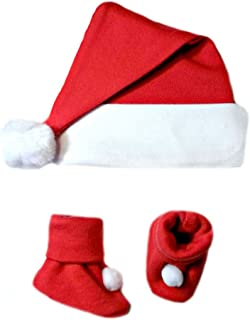 Jacqui's Unisex Baby Santa Hat and Booties Set, 6-12 Months Red