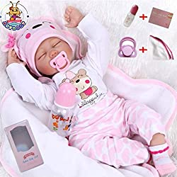 ❤Size: about 22 inch (55cm); Weight: about 1.5KG(3.2LB). The doll is handmade; will be some error in the size and weight. ❤Package that includes:Reborn baby doll + Pretty clothes + Pacifier magnet + Baby bottle + blanket baby + gift boxes + Birth Cer...