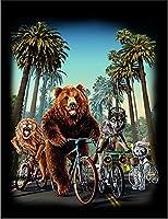 【ロサンゼルス 熊 オオカミ ライオン 自転車】 余白部分にオリジナルメッセージお入れします!ポストカード・はがき(黒背景)