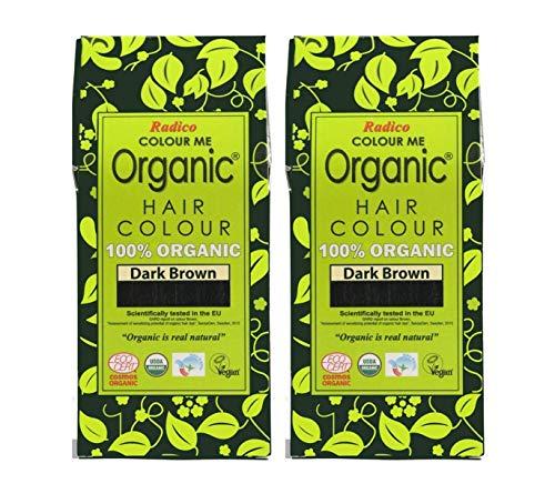 Radico Lots de 2 boîtes de coloration végétale Colour Me Organic, brun foncé (bio, végan, cosmétique naturel)