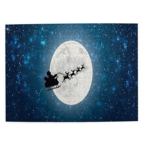 XMTMR-Glass Jigsaw Puzzles 500 Pieces,Santa Claus Flying In Sledge With Reindeer Night Sky Over Full Moon,Large Family Puzzle Game Artwork for Adults Teens