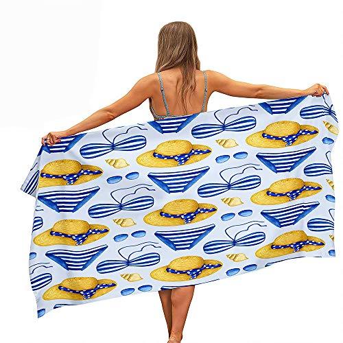 Surwin Toalla de Playa Grande, Microfibra Bikini Impresión Secado Rápido Toalla de Piscina Toalla de Arena Antiadherente para Verano Playa, Yoga, Picnic, Hotel (Verano Azul,70x150cm)