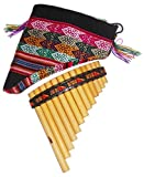 Easy to Play Beginner Peru Treasure Small Peruvian Tunable Antara Pan Flute 13 Pipes Case Included (Beige)