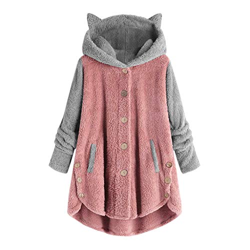 Xinantime Womens Overcoat Button Solid Coat Tops Hooded Pullover Loose Sweater Casual Blouse Plus Size (Pink-b,XL)