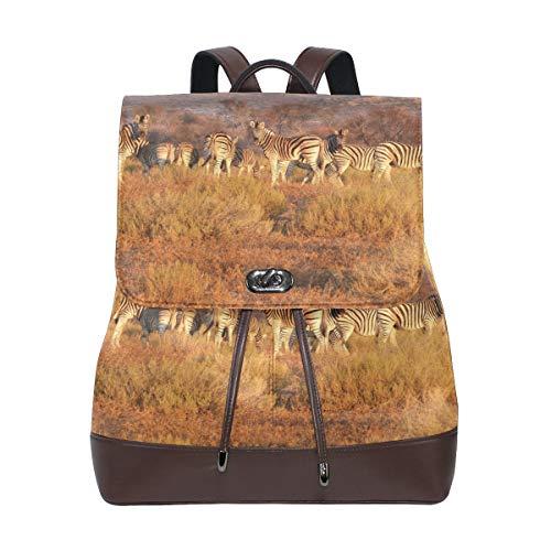 LUPINZ Zebra Herd auf dem Grasland Bedruckte robuste Leder-Büchertasche Back to School Rucksack