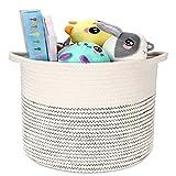 Emooqi cesta extra grande, cesta de almacenamiento de lavandería plegable cuerda de algodón, – ideal para colada,baño, tejido cuerda algodón - cesta decorativa, 11'x 11'