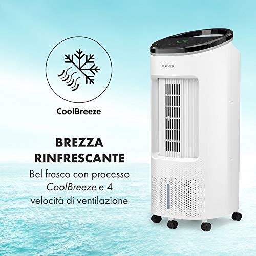 KLARSTEIN IceWind Plus - Raffrescatore Evaporativo, Ventilatore, Umidificatore, Depuratore d'Aria 4in1, Flusso: 330 m³/h, 49 Watt, Funzione NatureWind: 4 Velocità, 3 Modalità, Bianco Ghiaccio