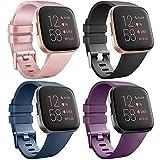 AK para Fitbit Versa Correa, Bandas Repuesto Ajustable Pulsera TPU Sport Accesorio Pulsera para Fitbit Versa Pequeño Grande (4-Pack Rose Gold+Purple+Blue+Black, L)