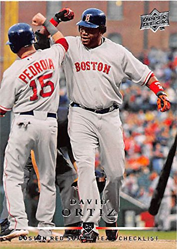 David Ortiz baseball card (Boston Red Sox Elbow Bash Dustin Pedroia) 2008 Upper Deck #373
