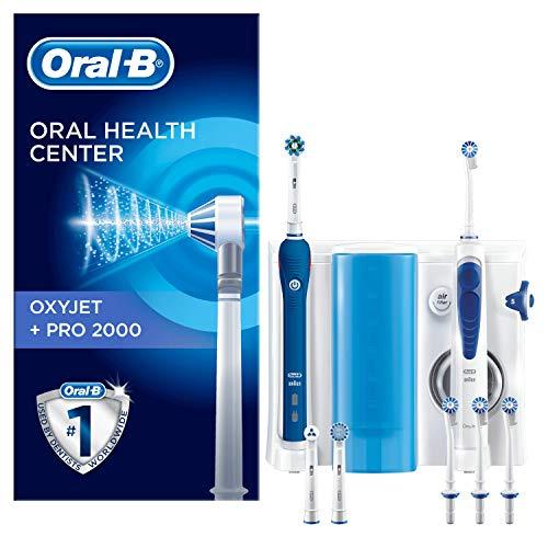 Oral-B PRO 2000 - Estación de Cuidado Bucal: Mango de Cepillo Eléctrico + Oxyjet Irrigador con Tecnología Braun, 4 Cabezales Oxyjet, 3 Cabezales de Recambio