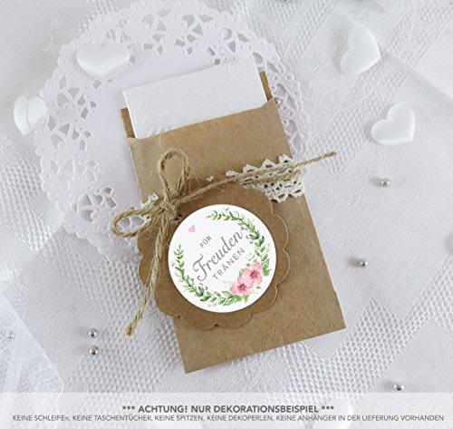 SET GROß: 48 Freudentränen Sticker + 48 braune Flachbeutel Kraftpapier - 63 x 93 mm für Freudentränen Taschentuch Verpackungen • Aufkleber ROSA GRÜN mit Blumenkranz • 4cm matt rund