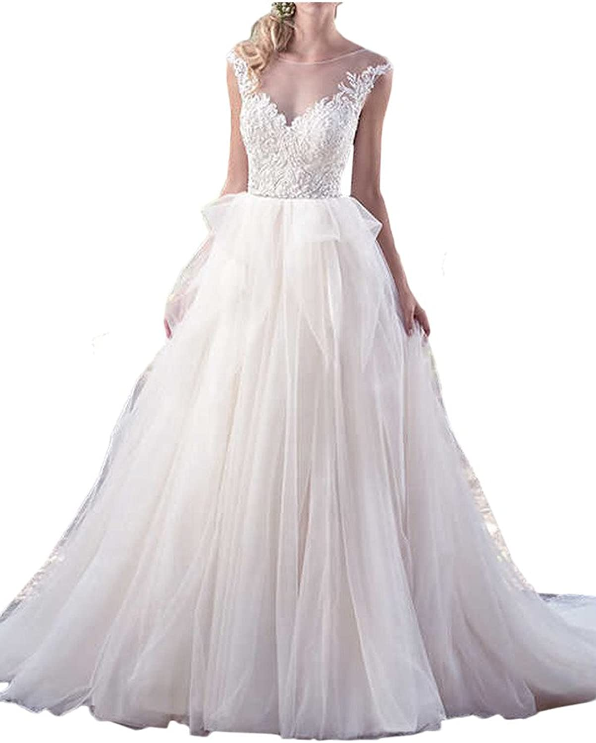 MILANO BRIDE Dreamy Bridal Dress For Wedding Applique Backless Ball Gown Tulle