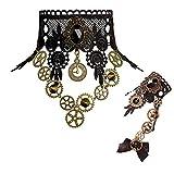 Qrettie Choker Necklace Bracelet Set for Halloween Punk Steampunk Costume Party Retro Gear Clock Cog Women Gothic Black Lace Necklace Lolita Victorian Steam Punk Choker Pendant