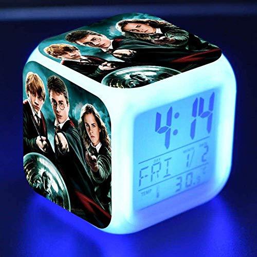 Harry potter sveglia digitale bambino cartone animato sveglia comodino luce notturna musica sveglia scrivania muta regali per bambini ragazzo ragazza adolescente luci colorate ricarica USB (03)-02