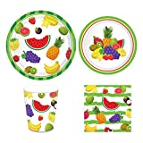 CC HOME Tutti Frutti Party Tableware set,Serves 16 - Includes Plates,Cups and Napkins for ...