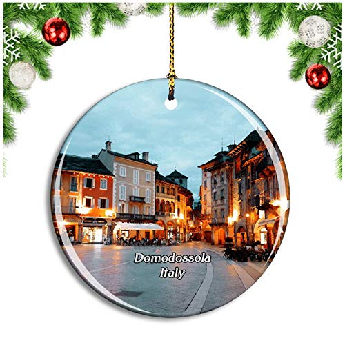 Weekino Domodossola Italy Piazza del Mercato Christmas Ornament Xmas Tree Decoration Hanging Pendant Travel Souvenir Collection Double Sided Porcelain 2.85 Inch