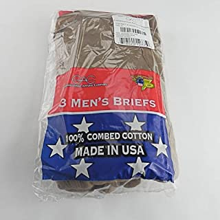 Made in USA 3 Pair Men's Cotton Briefs Size 34 (Color Brown) Genuine Military Issue Item