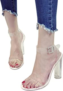 Women's Chunky Block Strappy Transparent High Heel Pump Sandals Fashion Ankle Strap Open Toe Shoes