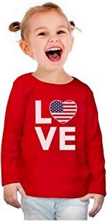 4th of July Tee USA Heart Flag Patriot Toddler Girls Fitted Long Sleeve T-Shirt