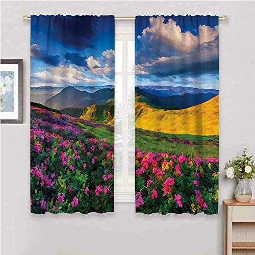DIMICA Home Decor Sliding Door Curtains lakehouse decor collection watercolor painting looking pink rhododendron flowers and mountain in summer with partly cloudy sky print yellow navy W63 x L45 Inch