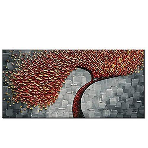 Olie Schilderij Mes 3D Rode Boom Handgemaakte Abstract Bloemen Olieverfschilderij Op Doek Muur Art Foto voor Woonkamer Huis Decor Unframed 40cmx80cm No Frame