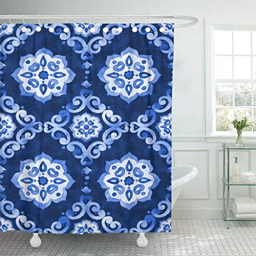 Abaysto Watercolor Royal Blue Velour Renaissance Tiling Delicate Filigree Openwork Lace Velvet Revival Tracery Polyester Fabric Shower Curtain Sets with Hooks Waterproof Bathroom Decor