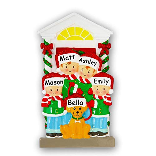 Personalized Family of 4 Christmas Ornament with Dog - Holiday Family in Santa Hat and Winter Scarves with Pet Dog Tree Decoration - Custom Names