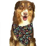 Quakess Pet Dog Bandana Triangle Lätzchen Schal Psychedelic Trippy DJ Art Black Taschentuch Krawatte Schal für Mädchen Jungen Unisex Haustiere - Geburtstag Bandana Schals Great Dog...