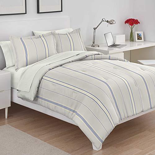 Utica Amy Stripe 100% Cotton Comforter Set, Full/Queen