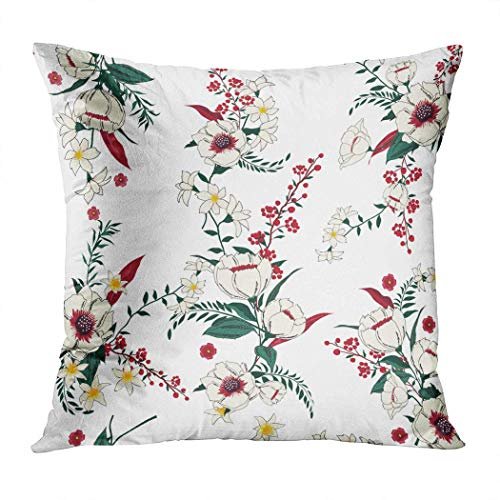 Yaxinduobao Bed Pillows Loft Pillow 18 x 18 inches Trendy Floral Pattern Many Kind Flowers Polyester Soft Square for Couch Sofa Bedroom