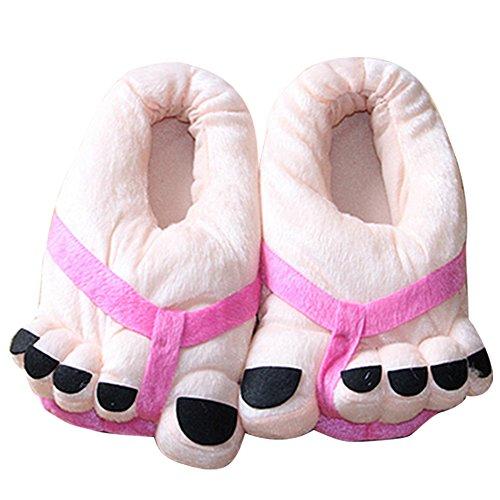 Gosear Cinque-Piede Toe Fumetto Stile Inverno Coperta Antiscivolo Peluche Pantofola Morbide Pantofole Peluche Caldo Medio Formato per EU 35-41 Rose