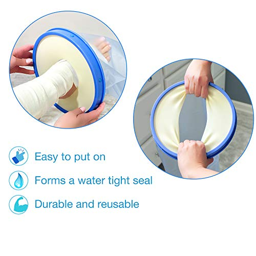 DMI Waterproof Cast Cover, Wound Barrier & Bandage Protector, Reusable with a Watertight Seal for Showers, Baths and Pools, Fits Adult Large Leg, 42 Inches in length