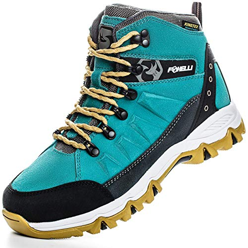 Foxelli Women's Hiking Boots – Waterproof Suede Leather Hiking Shoes for Women, Breathable, Comfortable & Lightweight Hiking Boot Teal