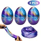 Makone Galaxy Fluffy Slime, 3pcs Colorful Soft Egg Slime Putty Magic DIY Clay Stress Relief Toy No Borax and Non Toxic Scented for Children and Adults