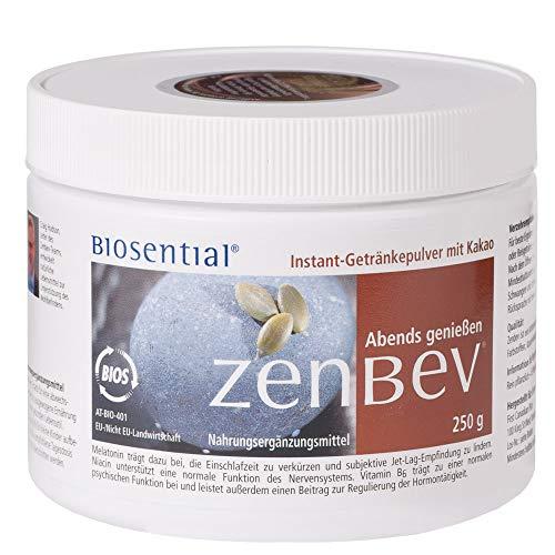 Zenbev Schoko, 250 g | Pulver | Rein pflanzliches Naturprodukt | Mit Vitamin B3 & B6 | Fördert das Einschlafen und das Wohlbefinden | Enthält Melatonin | Hergestellt in Kanada