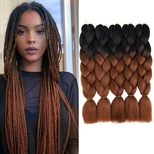 5 Paquetes 24 pulgadas de pelo trenzado Ombre Jumbo Braiding Hair 2 Tono Kanekalon Pelo trenzado sintético para extensión de pelo Pelo trenzado retorcido (Negro/marrón oscuro)