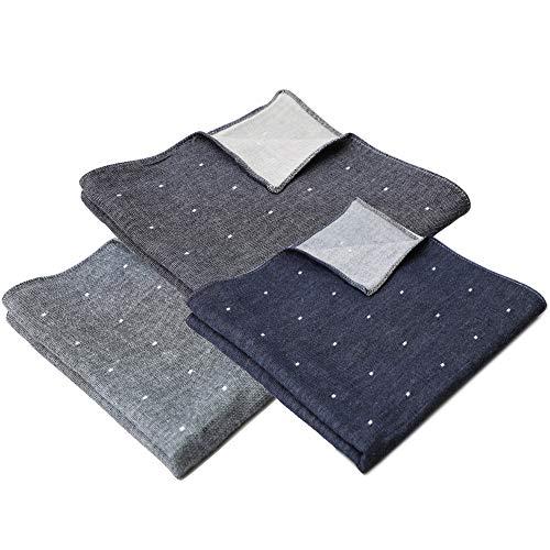 B-PLAID 3重ガーゼハンカチ 侘びさび 日本製 3枚セット 約35×35cm メンズ レディース ハンカチ 綿100% 和柄 吸水速乾 ねずみ+黒紺+濃紺