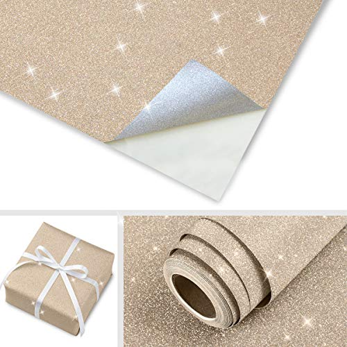 Gold Peel and Stick Wallpaper Glitter Decorative Wallpaper Yellow Self Adhesive Wall Paper Glitter Wrapping Crafts Sparkle Removable Wallpaper Stick and Peel Vinyl Film for DIY Festival Decoration